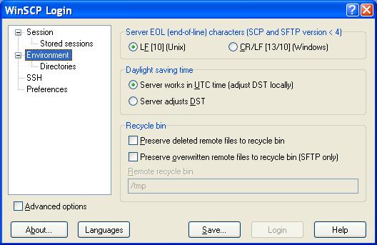 WinSCP Settings